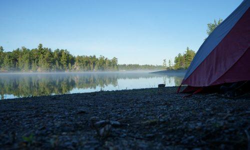 Campsite scenery reflection